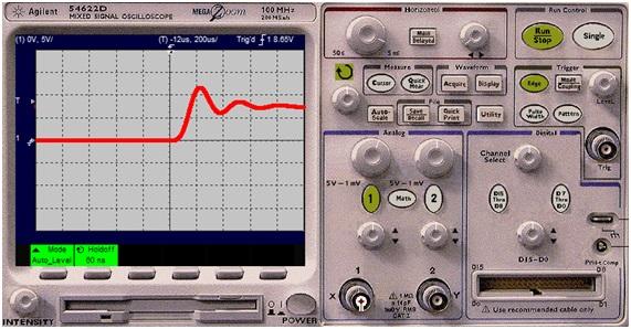 Traza obtenida en el osciloscopio, para medir la señal en el VCO