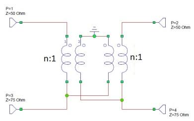 Acoplador direccional basado en transformador de ferrita