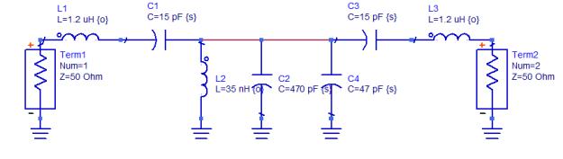 Filtro paso banda de tres secciones